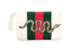 Beaded Ivory Emerald Red Snake Clutch