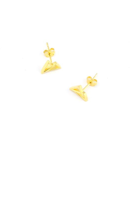 Isobell Designs - 14k Gold Cavo Triangle Stud Earrings