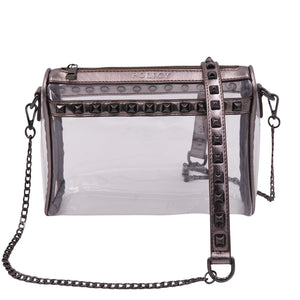 Policy Handbags - The Rockstar Clear Crossbody - Platinum + Gunmetal