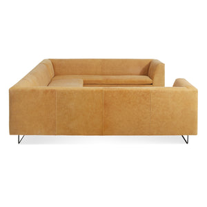 "Bonnie and Clyde 133"" Leather U-Shape Sectional Sofa"
