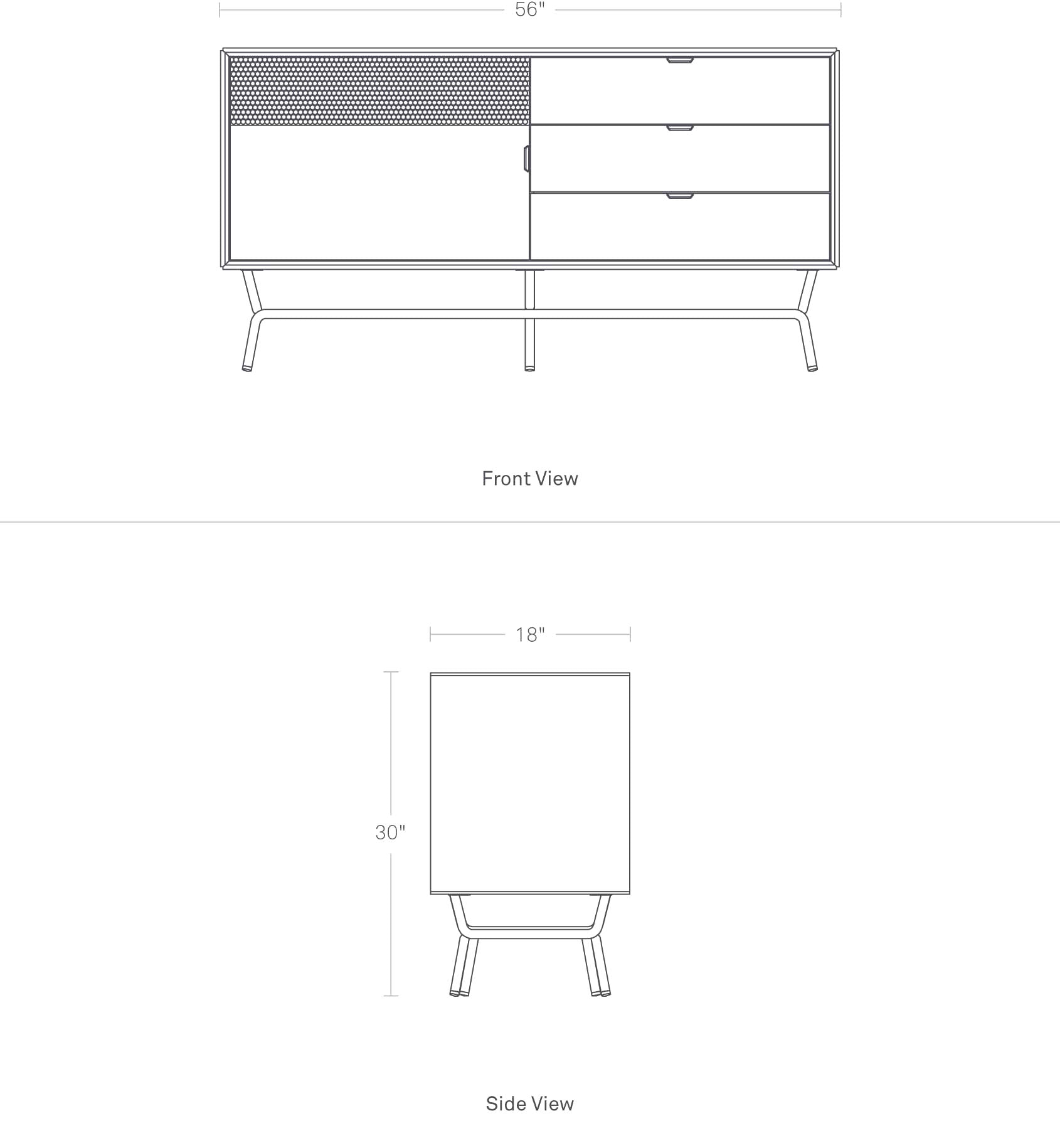 Dang 1 Door / 3 Drawer Console