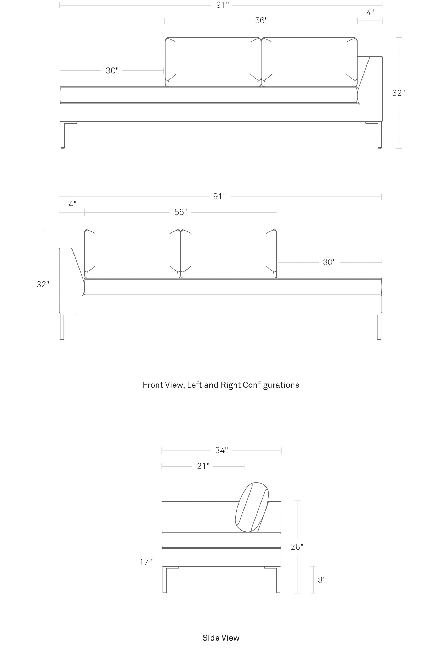 "Paramount 91"" Daybed Left"