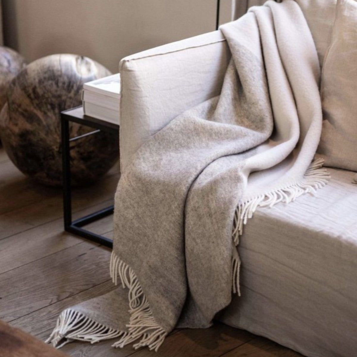 100% PURE NEW WOOL THROW | DUO ECRU I am Nomad