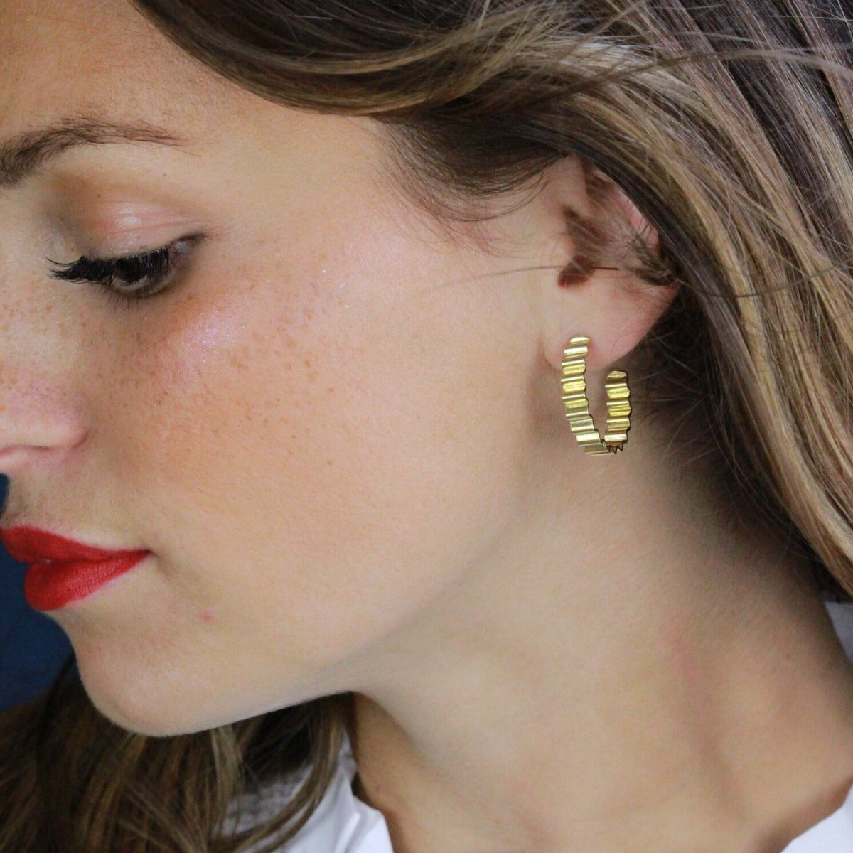 CLASSIC ONDULÉE HOOP EARRINGS - 18CT GOLD VERMEIL - BY OLIVIA TAYLOR Jewellery OLIVIA TAYLOR