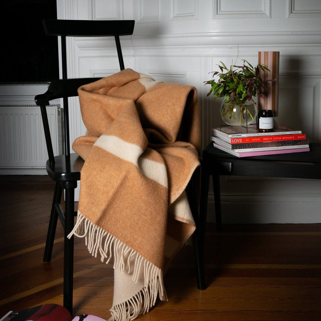 "Copy of PURE NEW WOOL THROW ""RIVER"" - OCHRE - BY FORESTRY WOOL FORESTRY WOOL"