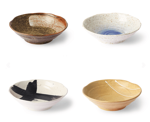 KYOTO CERAMICS : JAPANESE SHALLOW BOWLS SET OF 4 BY HK LIVING bowls HK LIVING