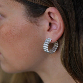 ONDULÉE THICK HOOP EARRINGS - STERLING SILVER - BY OLIVIA TAYLOR Jewellery OLIVIA TAYLOR