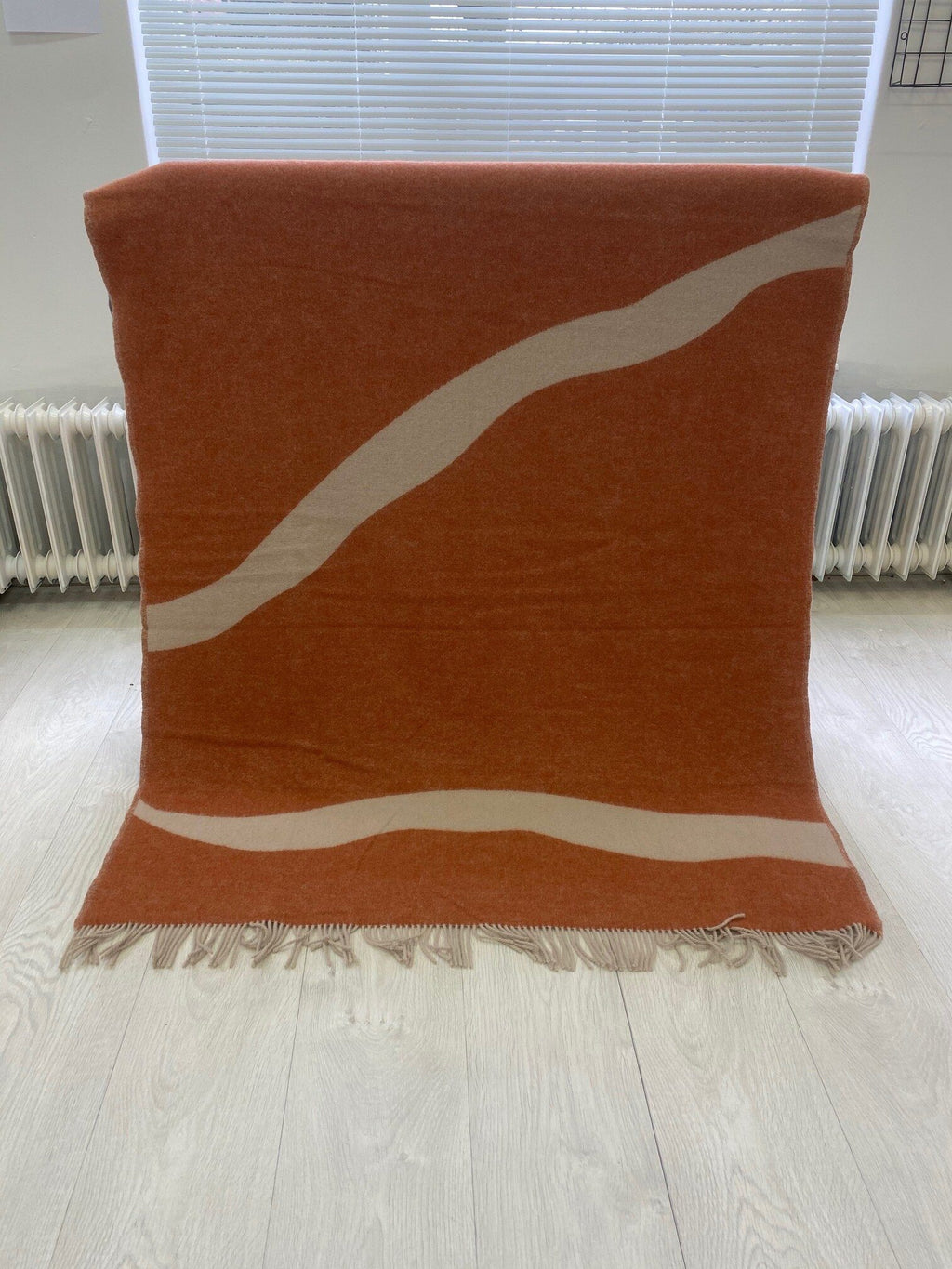 "PURE NEW WOOL THROW ""NATURE"" - ORANGE / BEIGE - BY FORESTRY WOOL throw FORESTRY WOOL"