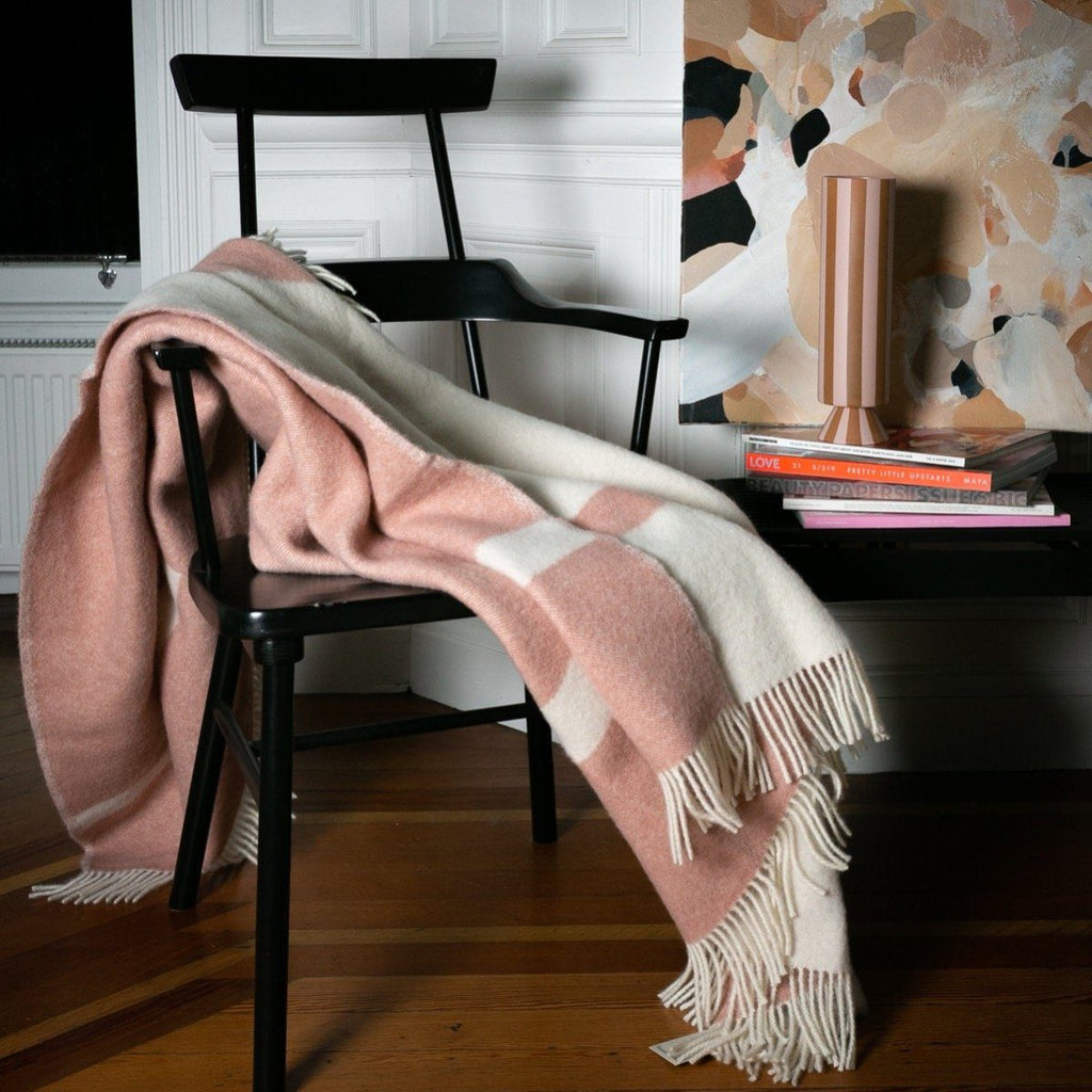 "PURE NEW WOOL THROW - ""RIVER"" - DUSKY PINK / CREAM - BY FORESTRY WOOL throw FORESTRY WOOL"