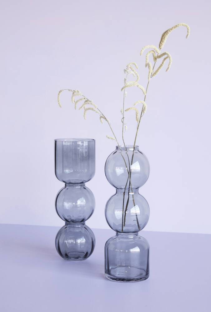 SMOKED GREY DOUBLE BUBBLE GLASS VASE - NARROW NECK - BY HÜBSCH vase HUBSCH