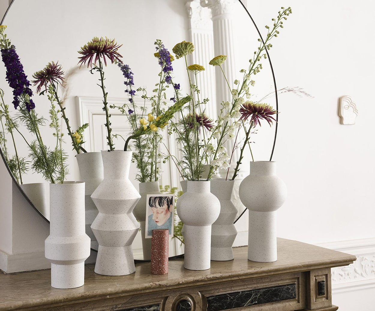 SPECKLED CLAY VASE WHITE I am Nomad