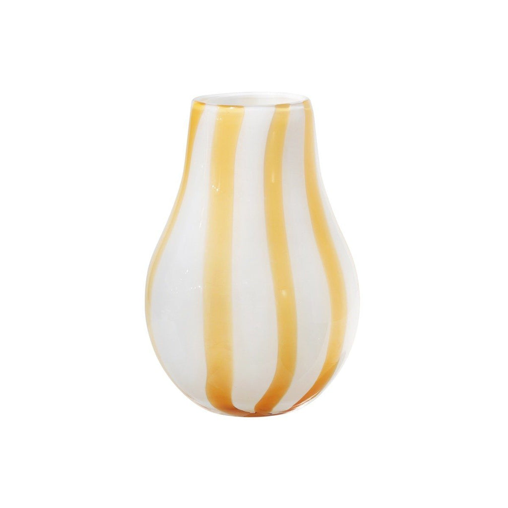 VASE ADA YELLOW STRIPE MOUTHBLOWN GLASS BY Broste Copenhagen BROSTE COPENHAGEN