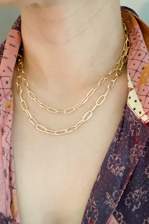 Double The Gold Chain Link Necklace 1