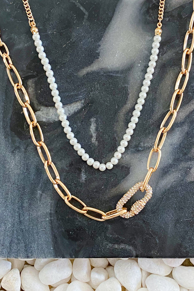 Classic Duo Layered Pearl Necklace Set 1