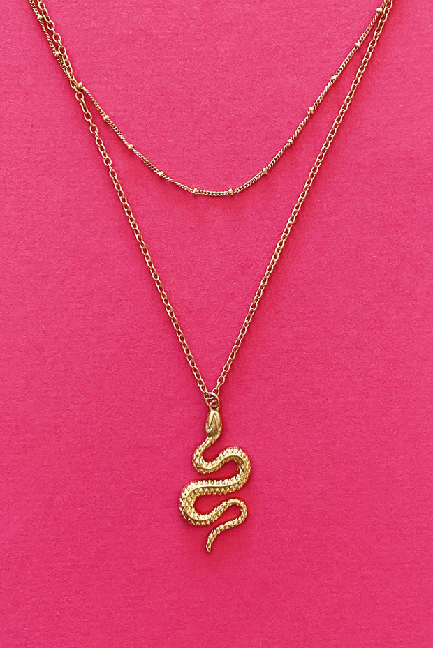 Serpent Stays Necklace, Gold 1