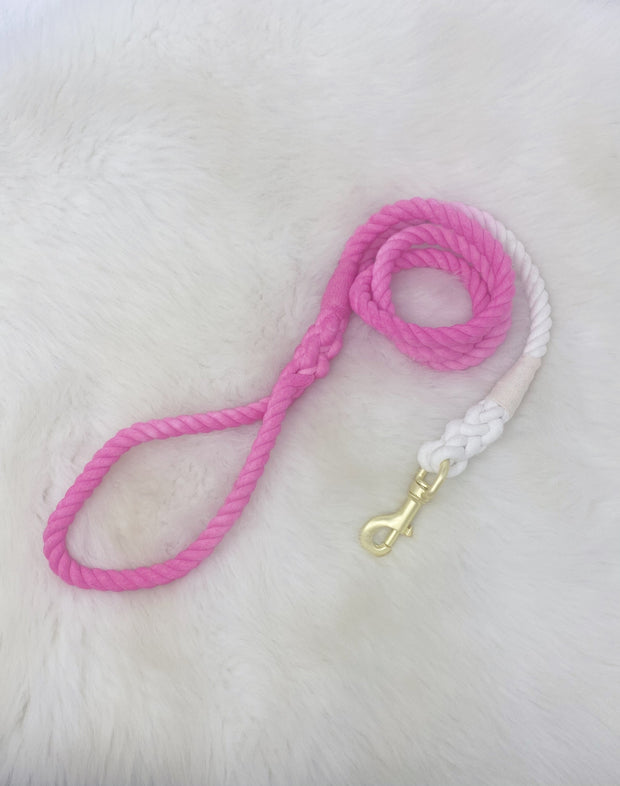 Hand Dyed Cotton Rope Leash, Peach Ombre 1