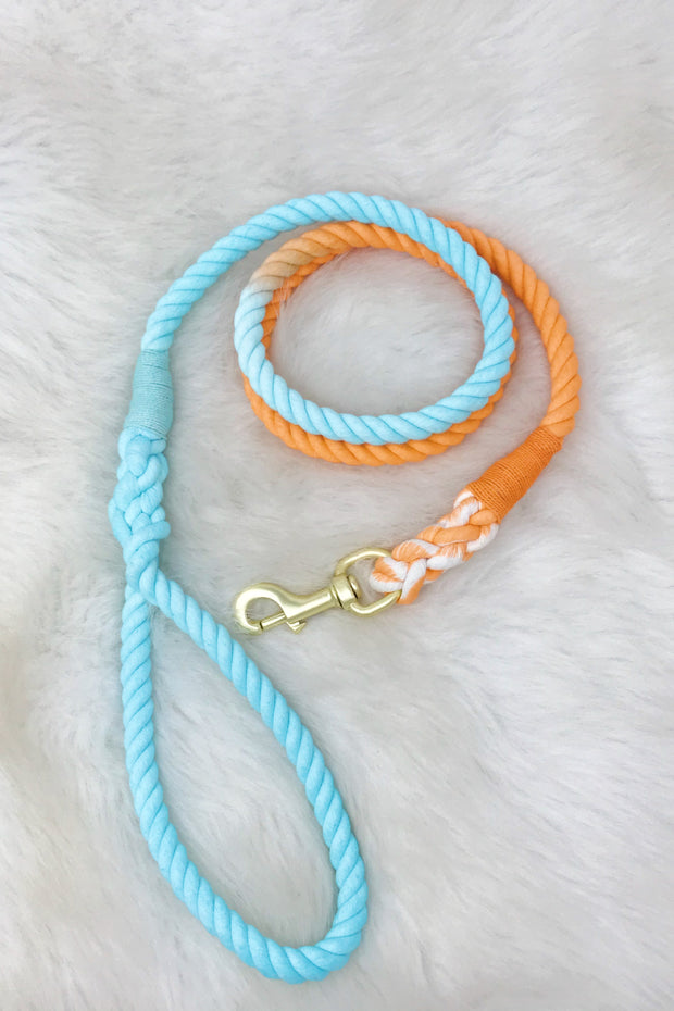 Hand Dyed Cotton Rope Leash, Orange Soda Ombre 1