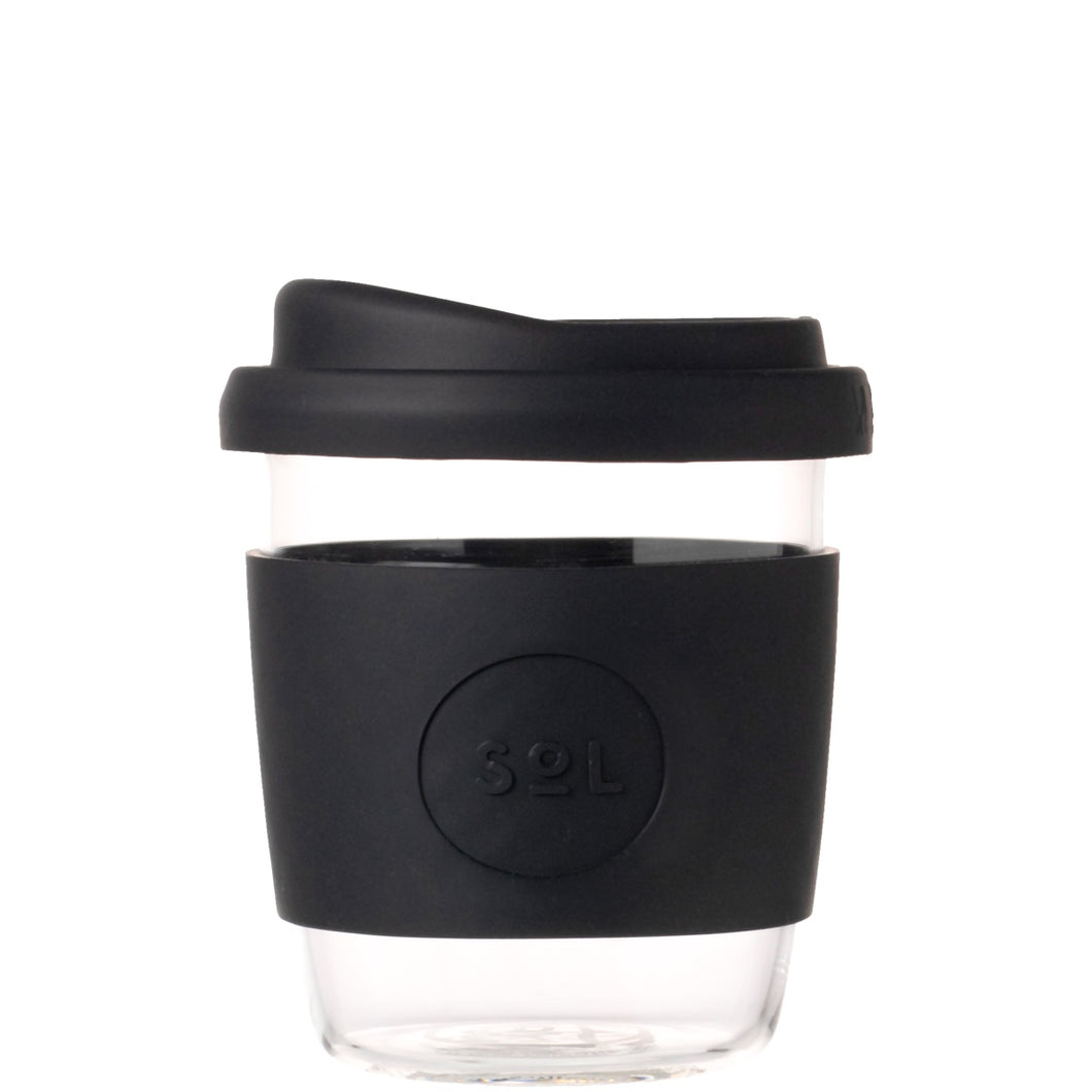 SoL Cups Glass Coffee Tumbler from One Less - Basalt Black 8oz