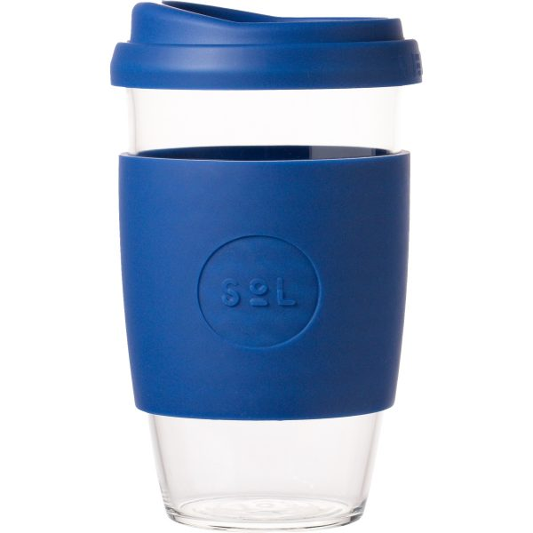 SoL Cups Glass Coffee Tumbler from One Less - Winter Bondi Blue 16oz