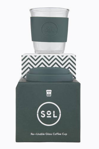 Deep Sea Green 8 oz hand blown glass reusable coffee cup with silicone sleeve and lid from SoL Cups. Reduce waste and curb single use plastic.