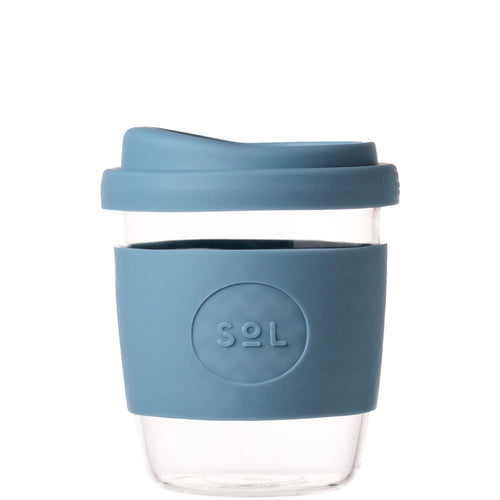 SoL Cups Glass Coffee Tumbler from One Less - Blue Stone 8oz