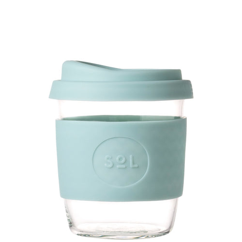 SoL Cups Glass Coffee Tumbler from One Less - Cool Cyan 8oz