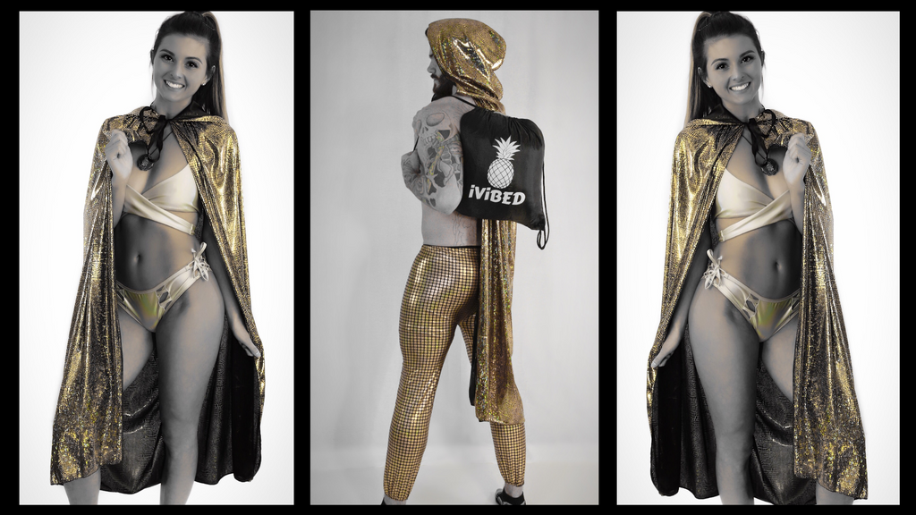 Holographic hooded romper with hidden pockets neon capes and cloaks with hoods. Cloak and dagger costumes gold metallic rave hoodies and tank tops for festival clothing