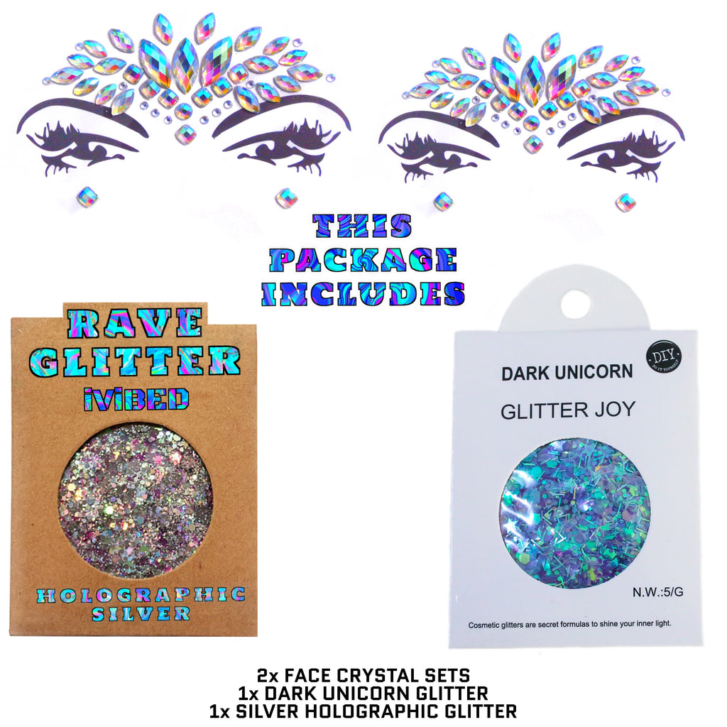 Women's face crystals. Rave make up and festival accessories. Neon holographic rhinestone face crystals and EDM body glitter unicorn vibes