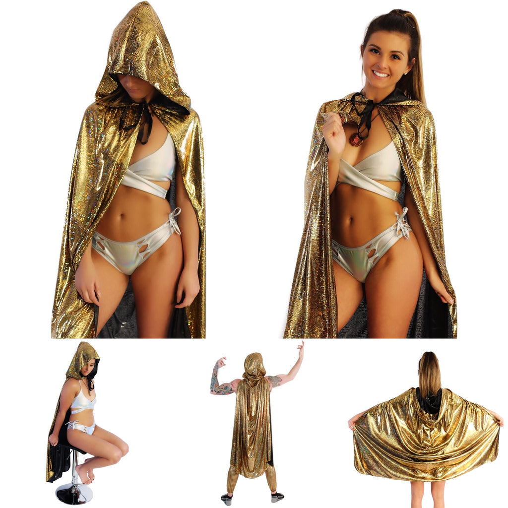 Gold Rave Clothes. Holographic Hooded Capes. Women's Rave Outfits for 2019 and festival accessories