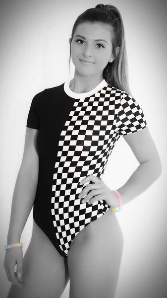 Checkerboard Bodysuit. Womens checkered rave romper EDM swimsuit. New 2019 rave babe 1pc jumpsuit