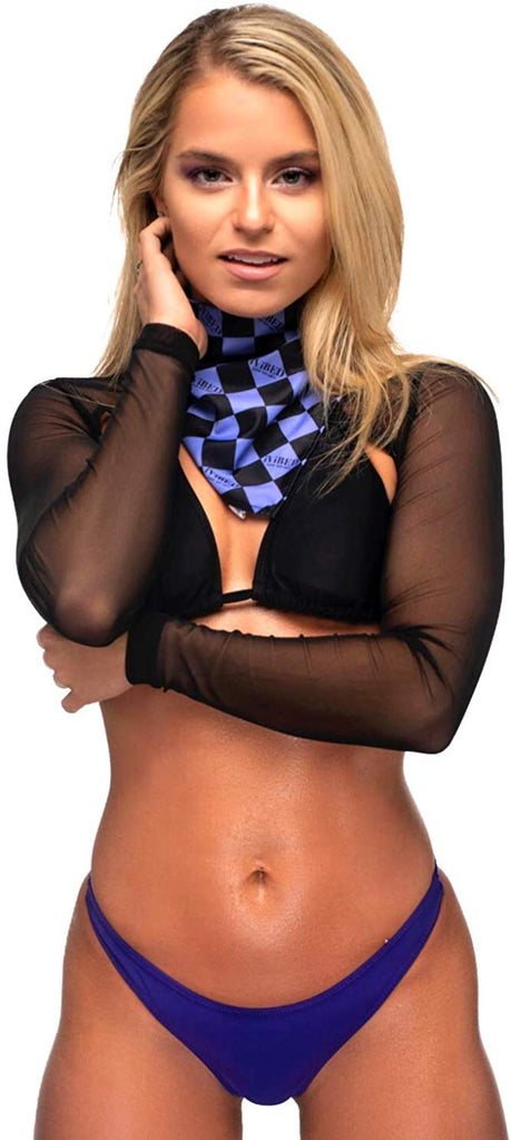 Rave Crop Tops Long Sleeve Mesh - Black