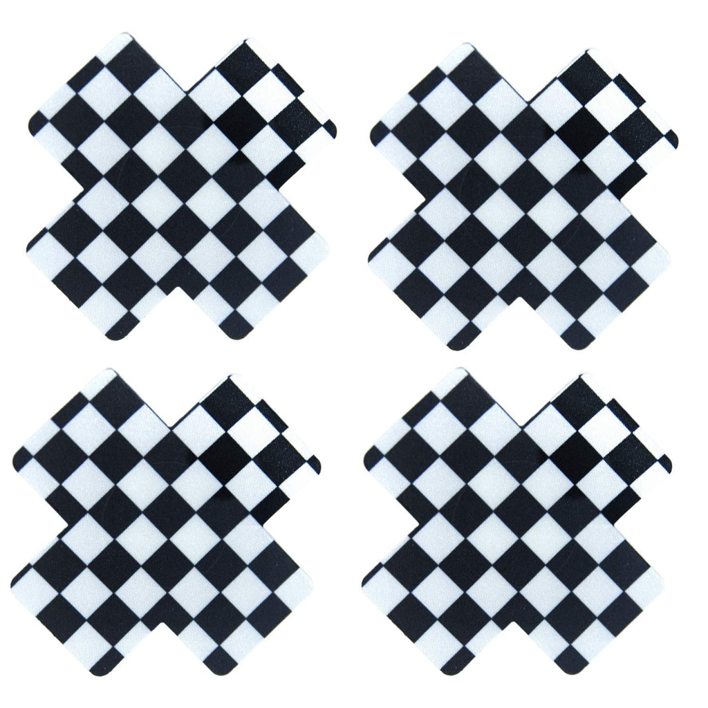 checkerboard black-x-pasties black-cross-pasties black-nipple-cover rave-pasties edm-pasties festival-pasties nipple-covers titty-stickers