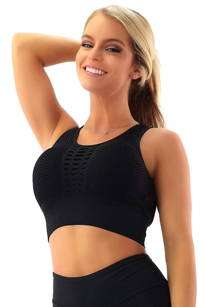 Womens Athletic Yoga Crop Top - Fitness Festival Rave EDM Tank Hidden Pockets