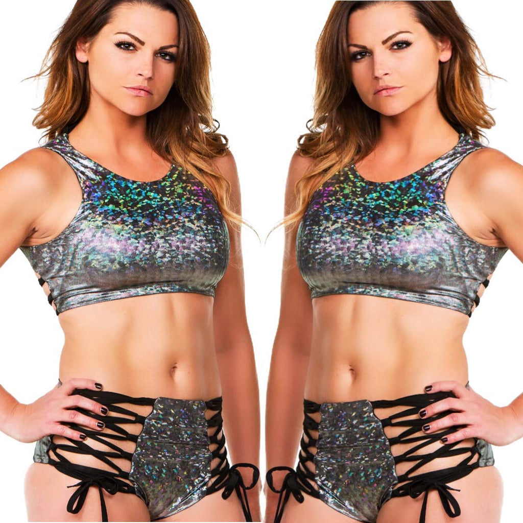Womens Festival Clothing 2pc Metallic Rave Clothes Pasties Hologram Glitter