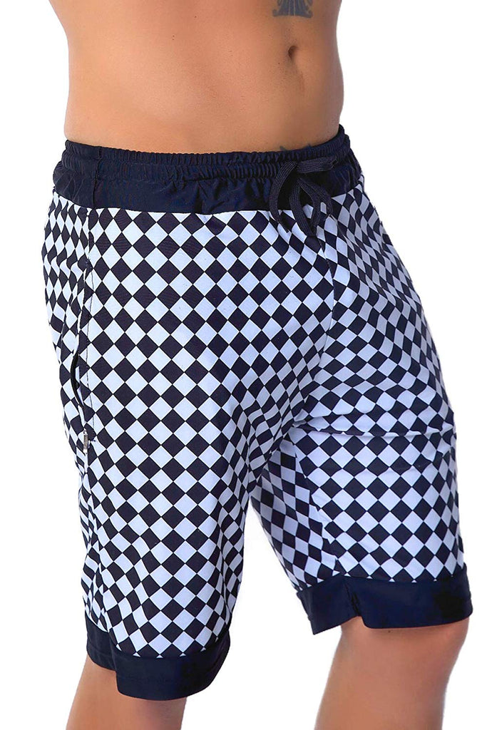 Mens Checkerboard Athletic Rave Shorts - Checker Gym Festival Clothing Fashion