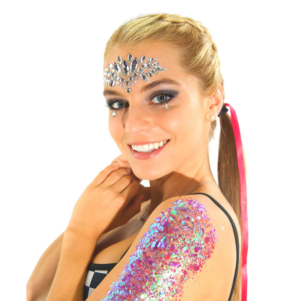 Rave Glitter Rhinestone Face Gems - Holographic Pasties Crystals EDM Accessories