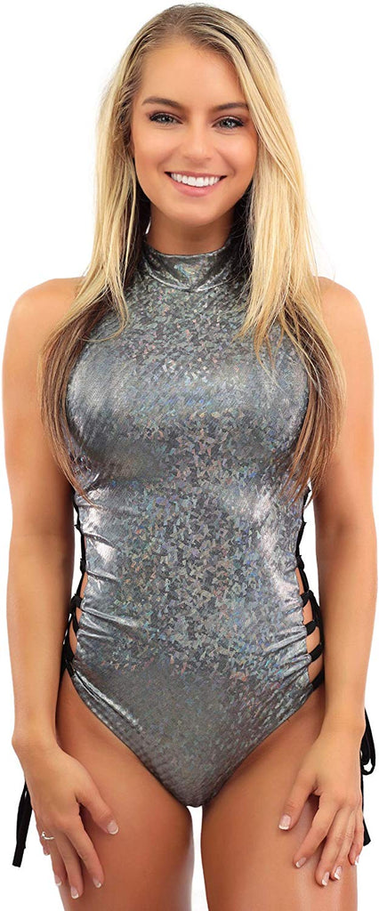 Womens Silver Rave Bodysuit Romper – Holographic One Piece Swimsuit Festival