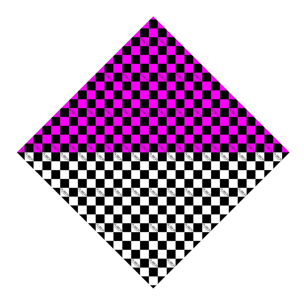 Rave Bandana Face Mask - Pink Checkerboard