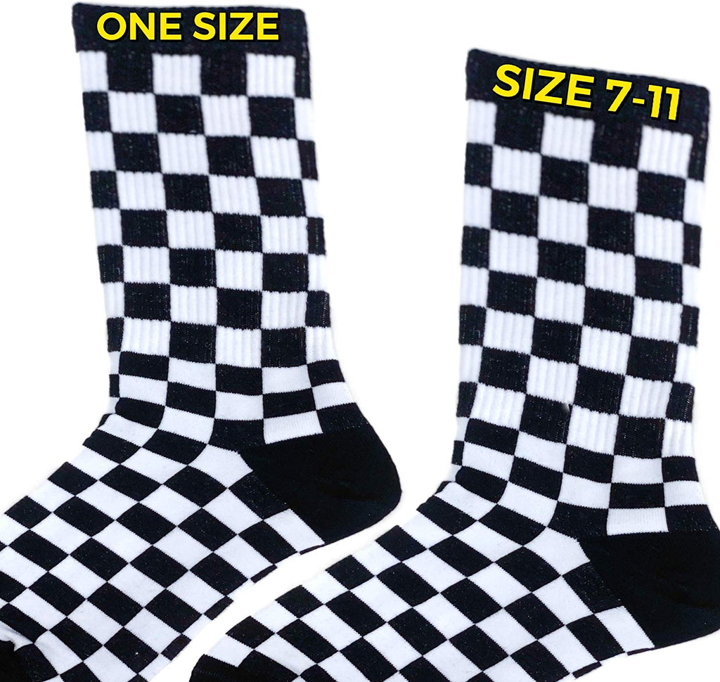 Knee High Checkerboard Socks Womens Checker Rave Clothes EDM Festival Clothing Accessories