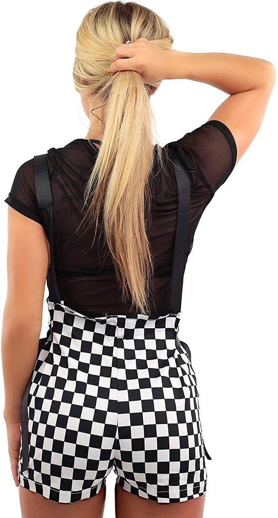 Womens Checkerboard Overalls Shorts Festival - Clothing Checker EDM Rave Outfits