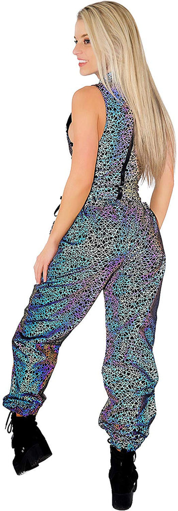 Womens Joggers Reflective Rave Pants – Reflector Metallic Holographic Festival