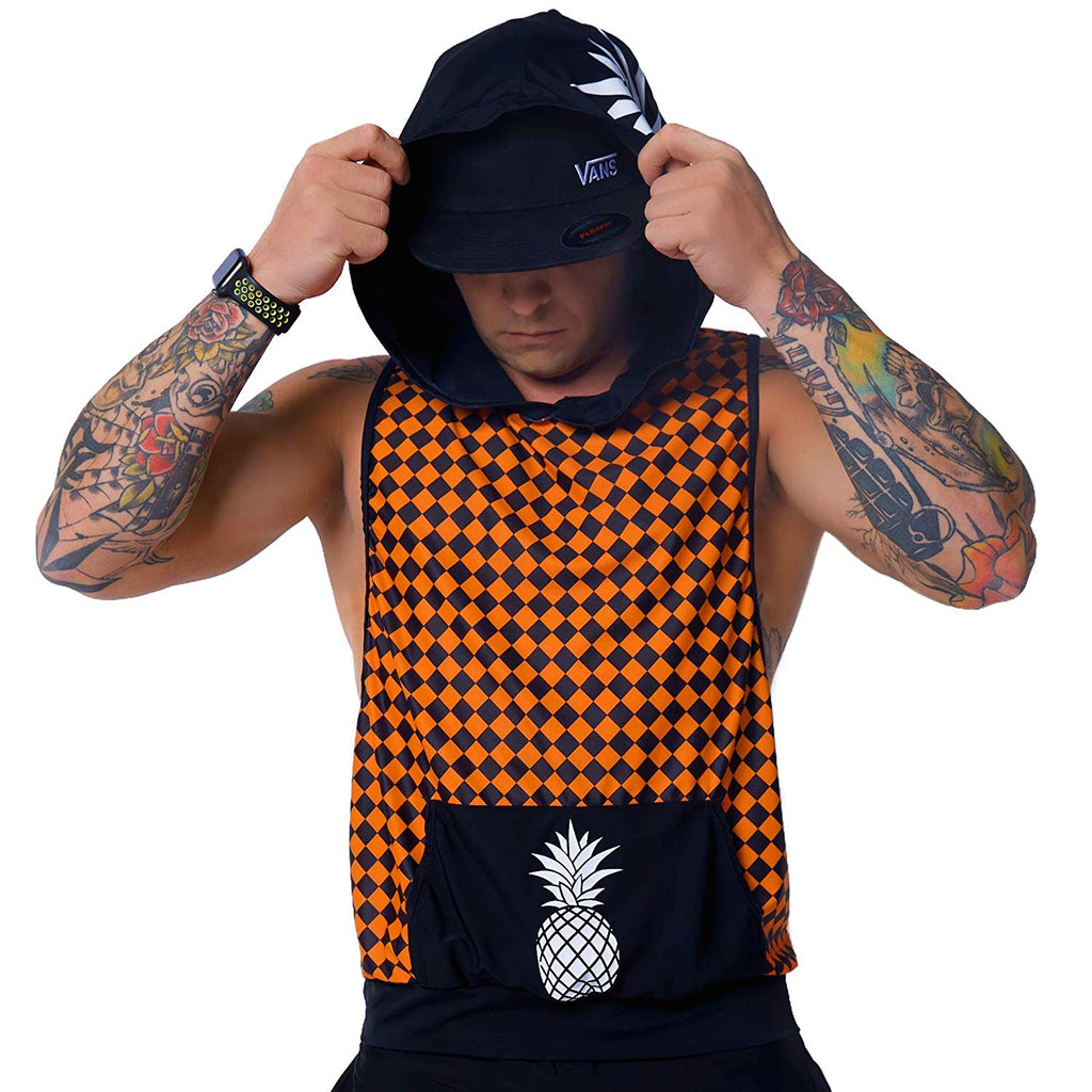 Mens Hooded Tank Tops - Orange Checker