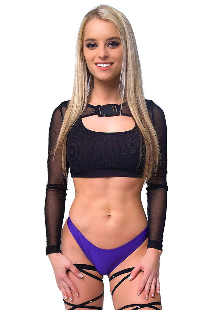 Womens Rave Bikini Crop Top – Booty Shorts Leg Wraps 3pc EDM Festival Clothing