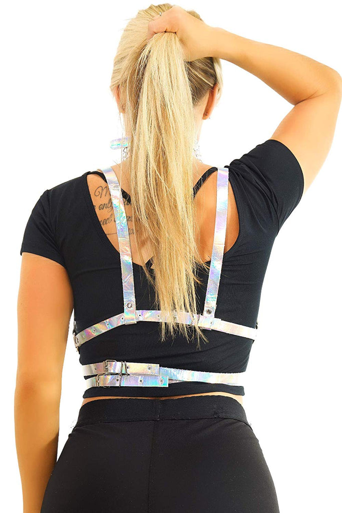 Womens Rave Festival Body Harness – EDM Bra Clothes Choker Holographic Pasties
