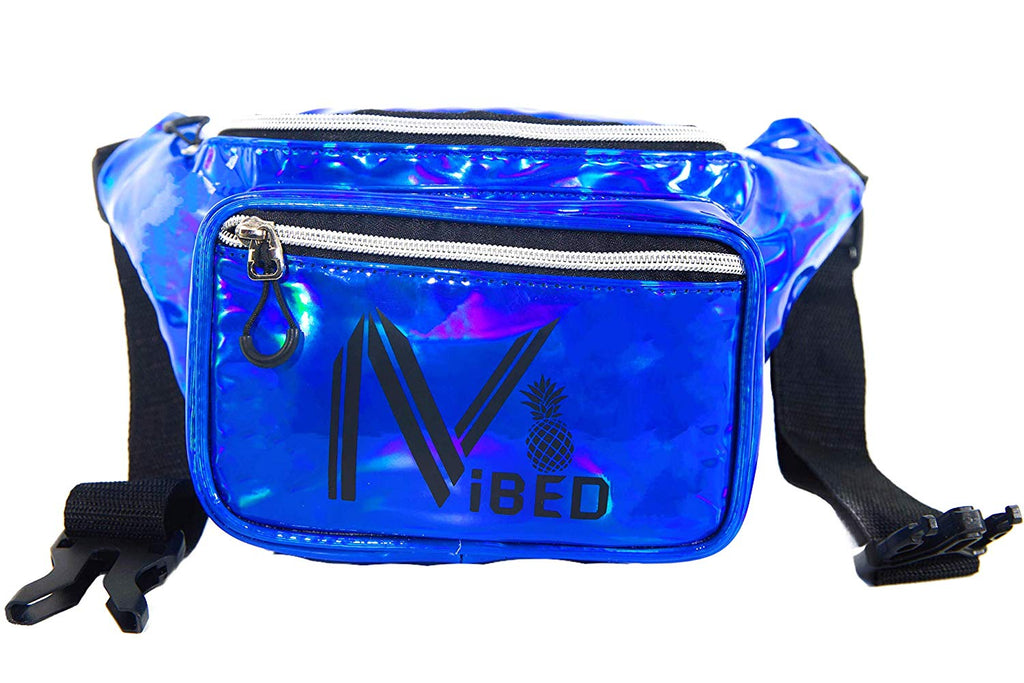 IVIBED Rave Fanny Pack Holographic Metallic - EDM Festival Waist Backpack Hidden Pocket