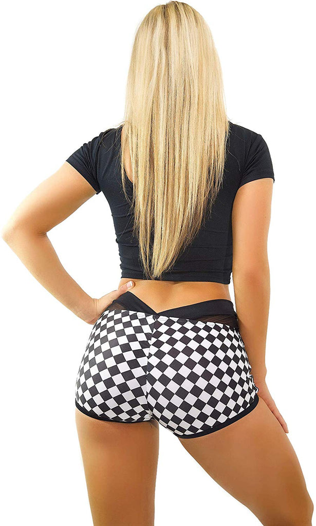 Rave Booty Shorts High Waisted – Sexy EDM Womens Athletic Yoga Festival Clothing