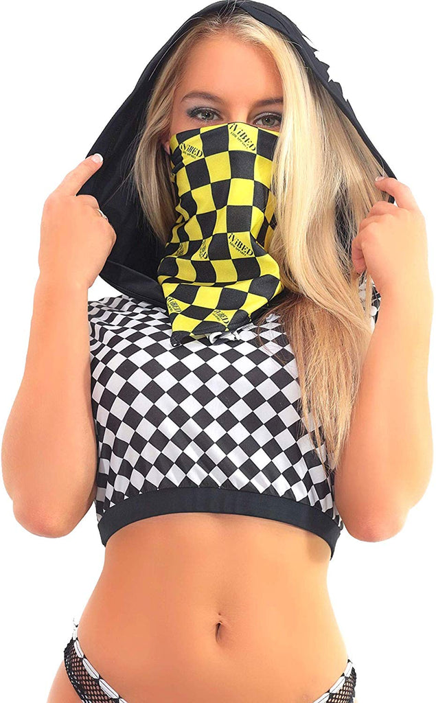 Rave Bandana Face Mask - Purple Checkerboard