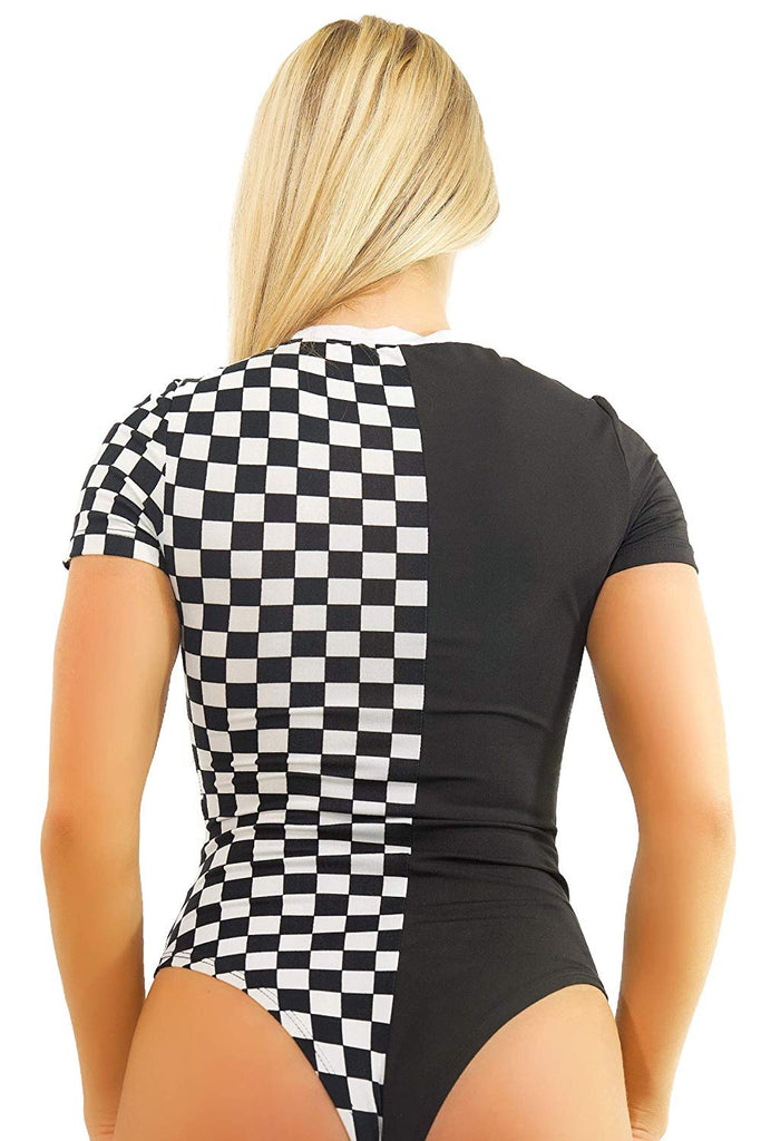 Womens Bodysuit Checkerboard Festival Clothing - Rave Romper EDM Checker Clothes