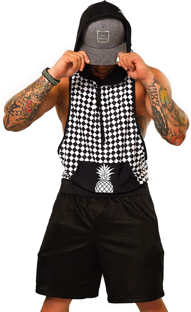 Mens Hooded Tank Tops - Mesh Checker