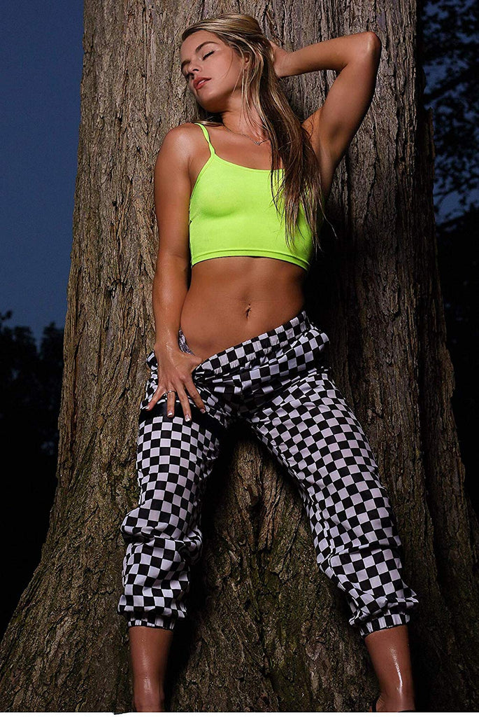 Womens Joggers Checkerboard Rave Pants - Checker Combat EDM Festival Clothing